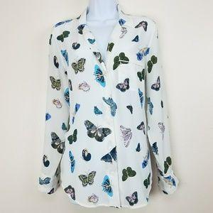 Equipment Femme 100% Silk Butterfly Print Top Sz S